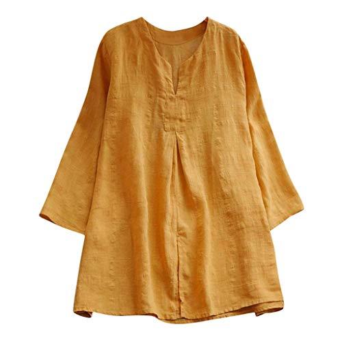 KUDICO Damen Baumwolle Leinen Shirt Große Größen Oberteile Bluse - Einfarbig V-Ausschnitt Langarm Freizeit Lose Tunika Tops Tee (Gelb,EU 44/CN 3XL)