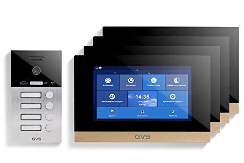 GVS Videoportero IP IP65 con RFID, monitor de 4 x 10 pulgadas, aplicación, cámara HD de 120°, apertura de puertas, memoria de 32 GB, interruptor PoE, juego de 4 casas, AVS4083A