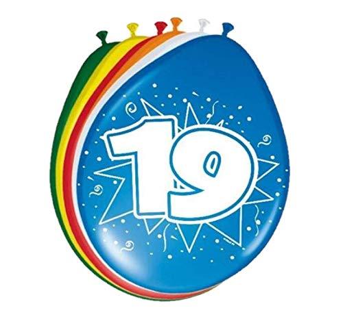 Folat 08220 19. Geburtstag Ballons 30 cm-8 Stück, Mehrfarbig