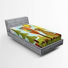 ABAKUHAUS Guardería Sábana Elastizada, Infantiles Forest Animals, Suave Tela Decorativa Estampada Elástico en el Borde, 90 x 200 cm, Multicolor