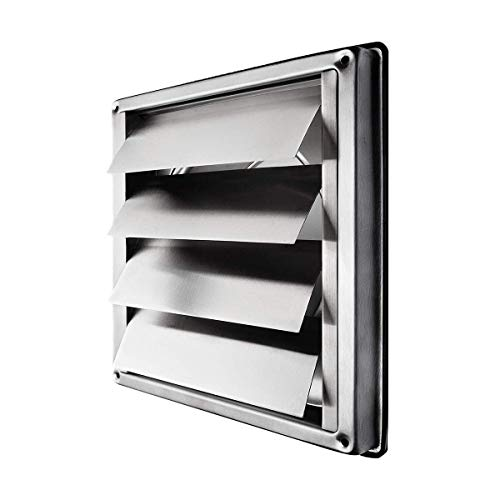 "calimaero VKE 4"" Inch Stainless Steel External Air Vent Louvre Gravity Flap Grille"