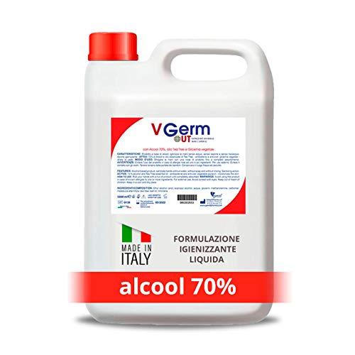 V Germ Out - Igienizzante Spray con Alcol 70% - per Tessuti, Superfici e Mani - Ricarica da 5 Litri