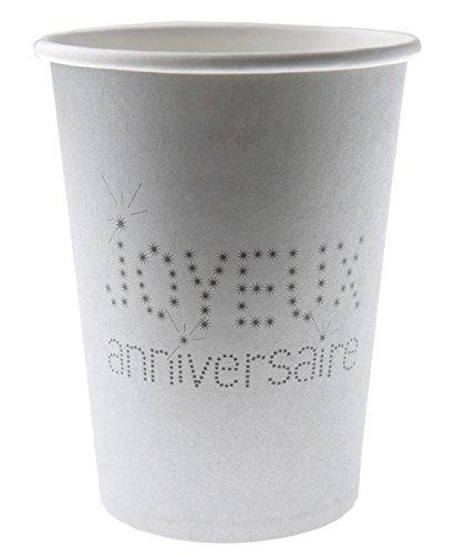 Santex Gobelet Anniversaire Argent x10 - Taille Unique