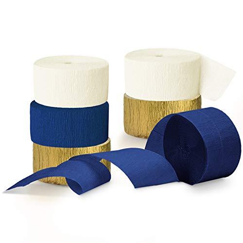 NICROLANDEE Marino Decoración de fiesta – 6 rollos de papel crepé, color azul marino y dorado, serpentinas de papel para prepararse para despedidas de soltera, bodas, cumpleaños, graduaciones