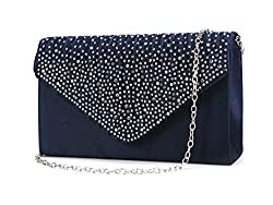 Envelope Type Evening Clutch Crossbody In Dark Blue