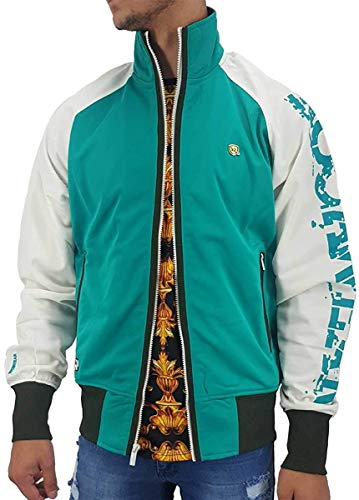 Rocawear Men's Designer Lightweight Zip Up Track Jacket, Tropical Green (Medium)