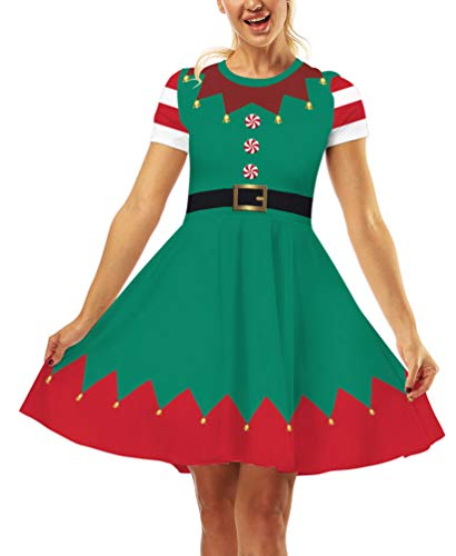 Ainuno Womens Ugly Christmas Dress Elf Dresses for Teens Funny Green Xmas Outfit Elf with Bells M
