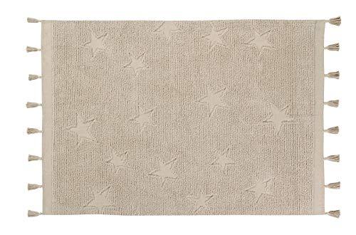 Lorena Canals Alfombra Lavable Hippy Stars Algodón Natural - Beige - 175x120 cm