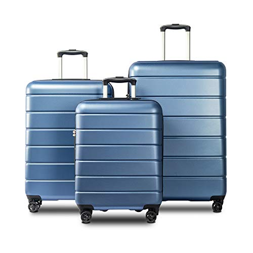 Merax 3 Piece Luggage Set with TSA Lock and Dual Spinner Wheels, Hardshell Lightweight Suitcase Set 20inch 24inch 28 inch (Blue)