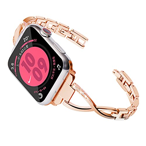 Para Apple Watch, correa de diamantes para mujer, serie 38 mm-44 mm 6 5 4 3 2, para correa iwatch, pulsera de acero inoxidable de 42 mm
