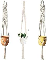 pepme Macrame Plant Hanger, Vertical Flower Pot Holder Ceiling Mount Handmade Hanging Planter
