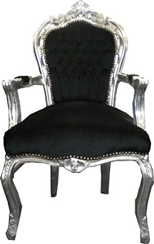 Casa Padrino Barroco Cena Presidente Negro/Plata con apoyabrazos - Muebles de Estilo Antiguo
