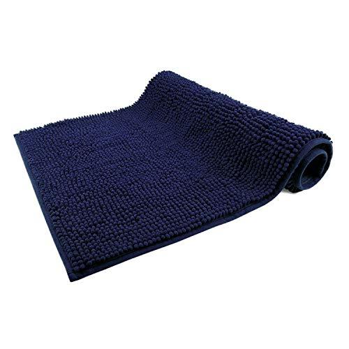 WohnDirect Tapis de Bain Bleu Foncé • Sets modulables • Antidérapant, Absorbant et Doux• 50x80cm