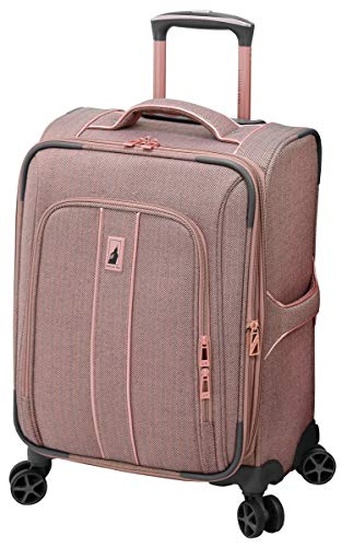 LONDON FOG Newcastle Softside Expandable Spinner Luggage, Rose Charcoal Herringbone, Carry-On 20-Inch