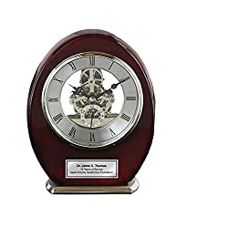 AllGiftFrames Engraved Oval Beacon Desk Table Clock Wood Silver Davinci Clock Anniversary Wedding Retirement Service Award Recognition Birthday Gifts