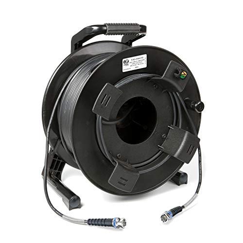 Emelec VíasCom R-SDI-3006N/120-120m videokabel 3G-SDI (0.8/3.75/6.0) gemonteerd op kabelhouder met BNC 3G-SDI - Unifilar ladder, zwart - Flexibel PVC