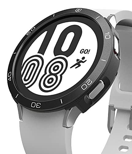 Ringke Air Sports + Bezel Styling Combo Compatibile con Cover Samsung Galaxy Watch 4 44mm, Custodia Antiurto TPU e Ghiera Anti Graffio Alluminio - 11-Black Nero