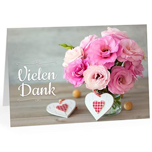 Große Dankeskarte XXL (A4) als Dankeschön/Vielen Dank, Blumenstrauß rosa/mit Umschlag/Edle Design Klappkarte/Danke sagen/Danksagung/Danke sehr/Extra Groß/Edle Maxi Gruß-Karte