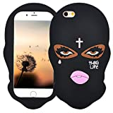 Black Mask Case for iPhone 7/ iPhone 8 4.7',3D Cartoon Animal Design Cute Soft Silicone Rubber Protective Cover,Kawaii Animated Stylish Fashion Cool Skin for Kids Child Teens Girls Women (iPhone 7/8)