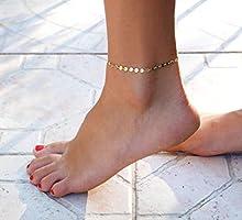Bracelet de cheville plaqué or - bracelet de cheville chaine Cercles - Chevillère doré - bracelet de pied été - bijoux...