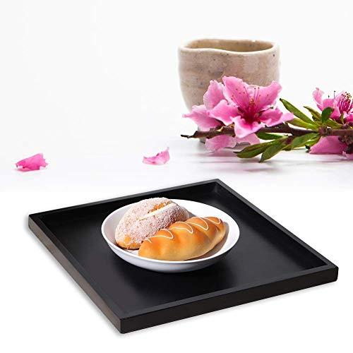 Plateau de service multi-usage rectangulaire en bois thé café plateau de service pour restaurant à domicile 25x18x2cm