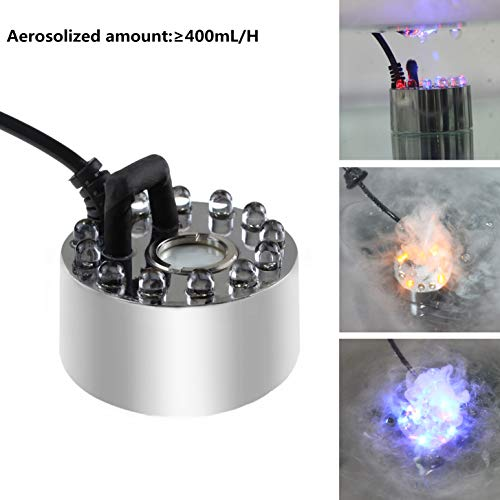 AGPTEK 400mL/H Aluminum Original Mini Mist Maker Fogger with 12 LED Lights Water Pond Garden Fountain Fogger Indoor Outdoor Fountain Accessories Fog Machine Atomizer Air Humidifier