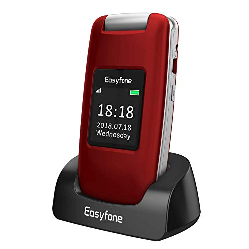 Easyfone Prime-A1 gsm Teléfono Móvil para Personas Mayores con Tapa, Audífonos Compatibles, Teclas Grandes, Cámara de 2.0MP, Fácil de Usar Celular para Ancianos con SOS (Rojo)