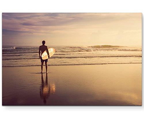 Paul Sinus Art Leinwandbilder | Bilder Leinwand 120x80cm Surfer am Strand