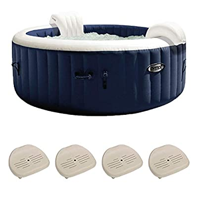 Intex PureSpa Plus 6 Person Portable Inflatable Hot Tub Bubble Jet Spa, Navy, Inflatable Slip Resistant Removable Seat Hot Tub Spa Accessory (4 Pack)
