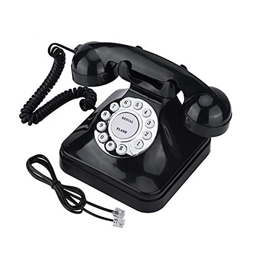 ELKeyko Teléfono Retro Vintage Antiguo Teléfono con Cable Líbemo Fijo Teléfono Fijo Teléfono de teléfono de Almacenamiento para Uso en el hogar Uso del Hotel (Color : Black)