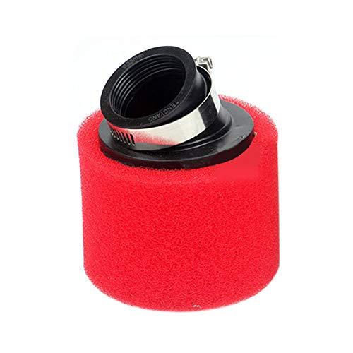ZAK168 - Filtro de Aire Universal para Scooters de Moto de Carretera, Filtro de Aire Redondo de Esponja decapadora, 35 mm/38 mm/40 mm/42 mm/45 mm/48 mm, Rojo, 35mm