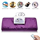 Uttiny Far Infrared Sauna Blanket, 70.8x31.4 Inches 110V 2 Zone Waterproof Detoxification Blanket with Safety Switch Used As Home Sauna for Body Shape Slimming Fitness (Purple)