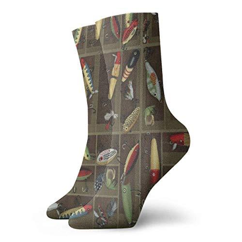 Wadestar Vintage Fischköder Style Adult Short Socks Coole Socken 30 cm für Mens Womens Cycling Running