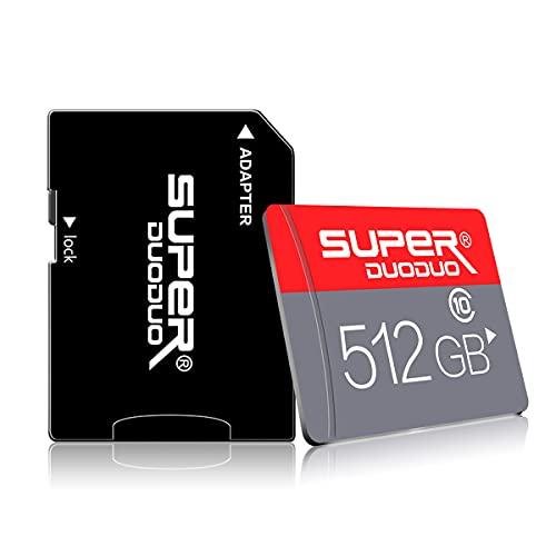 512GB Micro-SD-Karte 512 GB TF-Speicherkarte 512 GB Klasse 10 High-Speed-Micro-Speicherkarte mit SD-Kartenadapter für Kamera, Telefon, Computer, Dashcam, Fahrtenschreiber, Tablet, Drohne
