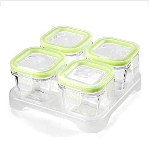 QLSN Baby-Frischhaltedose Glas Aufbewahrung Luftdicht Tragbare Ergänzende Lebensmittelbox Glas Gefrierbox Lagerung Frisch Tragbar 4 STK