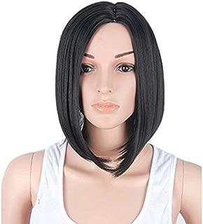 Tsnomore Long Straight Shoulder Length Bob Heat Resistant Women Wig (Black)