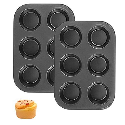 Molde para muffins, 2 unidades, antiadherente, para 6 magdalenas, molde de metal para hornear con conducción del calor, no pegajoso, para tartas, pudding pizza, helado, chocolate (negro)