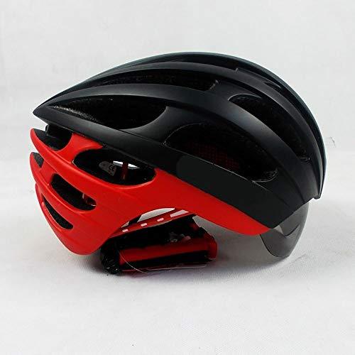Kaper Go Helm Ultraleichter Reithelm mit Brille Integrierter Fahrradhelm Mountainbike-Schutzausrüstung Atmungsaktive Sicherheit (Color : Red)