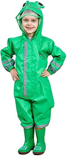 Mono impermeable para niños, transpirable, con capucha, reflectante y reflectante, de poliuretano, sombrero transparente con bordes, ropa de lluvia (verde, L)