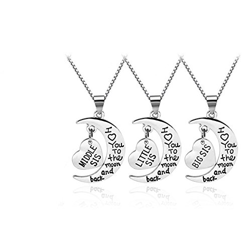 Mikty 2018 Little Middle Big Sis Necklace 3Pcs I Love to The Moon and Back Love Heart Pendant Necklace Three Set