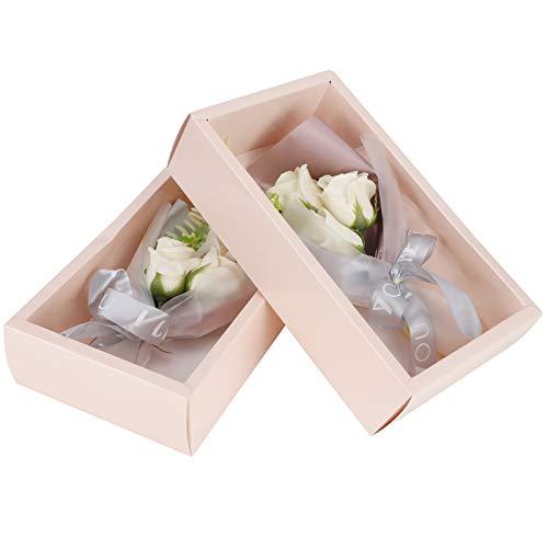 Meiyya Flor Artificial, Hermosas Rosas de jabón de Fragancia 20x13cm día de San Valentín para decoración de Interiores(Milky White)