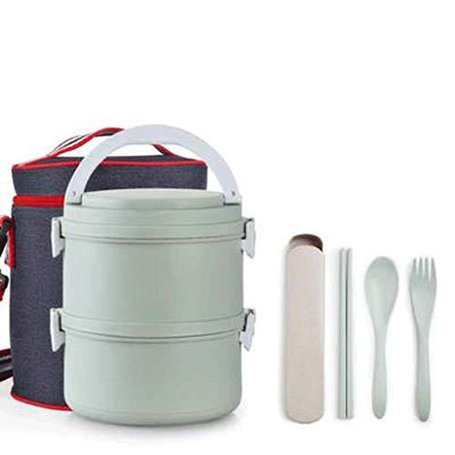 SMEJS - Fiambrera de acero inoxidable 100% a prueba de fugas con bolsa de almuerzo aislada para niños y adultos (color: C, tamaño: S)