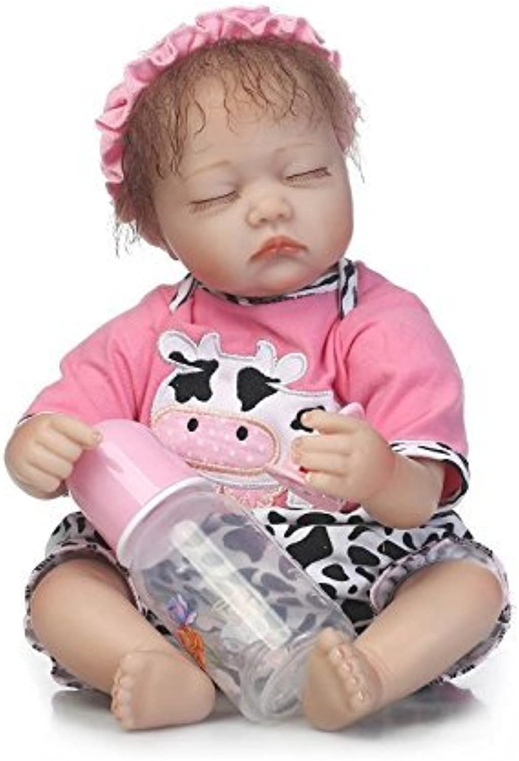 Nicery Reborn Doll 18 inch 45cm Soft Silicone Cloth Body Magnetic Mouth Mohair Lifelike Toys for Boys and Girls Birthday Christmas 45101
