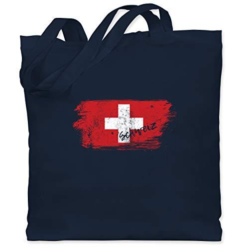 Städte & Länder Kind - Schweiz Vintage - Unisize - Navy Blau - WM - WM101 - Stoffbeutel aus Baumwolle Jutebeutel lange Henkel