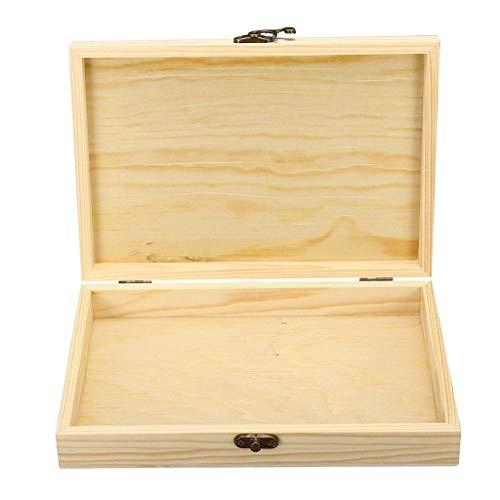 Gymqian Caja de Cigarros de Flip Simple Embalaje Caja de Madera Rectangular Alenamiento Portátil Cajas de Madera Natural 250X170X40Mm Accesorios de Cigarros Exquisito