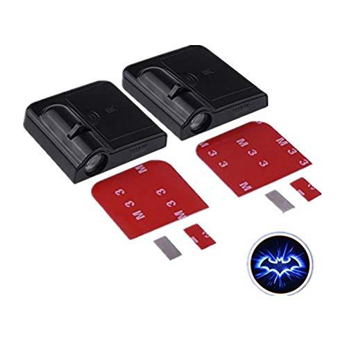 Youngine 2 x proyectores LED para puerta de coche, inalámbricos; luces de bienvenida o cortesía; lámpara de sombras con figura de Batman; luz fantasma operada con batería, con sensor magnético