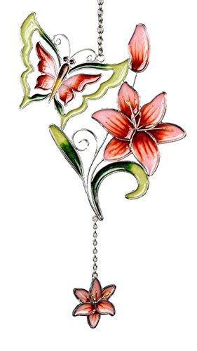 dekojohnson moderne raamdecoratie raamhanger decoratief glasschilderij Tiffany vlinder & Lilie groen lente/zomer 35 cm
