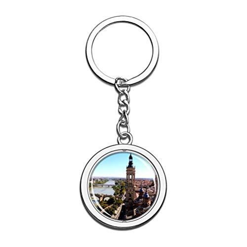 Llavero de la catedral del Pilar de España Zaragoza con cadena de metal y acero inoxidable, regalo de viaje de ciudad.