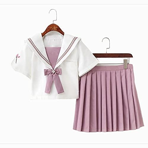 ZOSUO Estilo Universitario para Damas Escolar de Japón Traje de Marinero Disfraz de Colegiala Traje de Cosplay de Uniforme JK Camisetas Crop Top Falda Corta Suit Moda para Mujere,Rosado,S