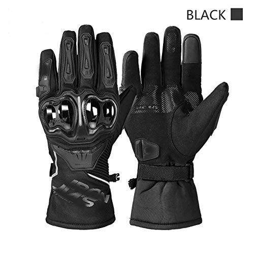 Guantes de Moto para Hombre Guantes de Moto de Invierno a Prueba de Viento Impermeables Guantes de Moto con Pantalla táctil - JIA03-Negro, XL